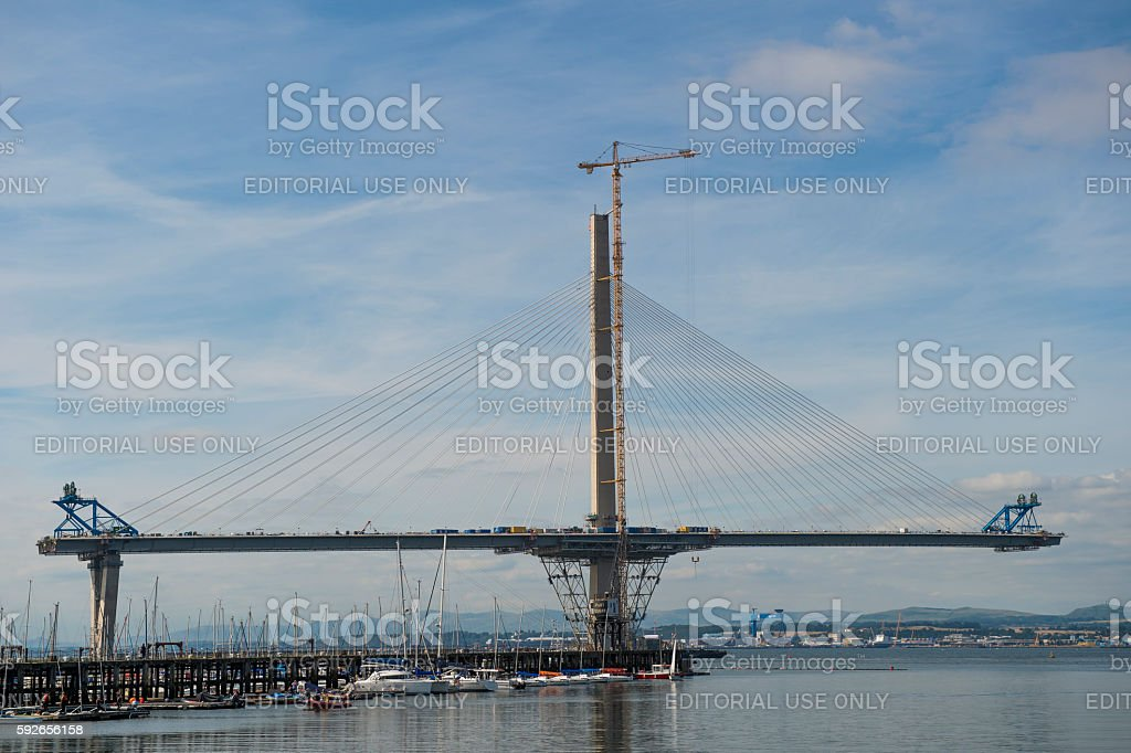 The new crossing over the Firth of Forth under construction stock photo