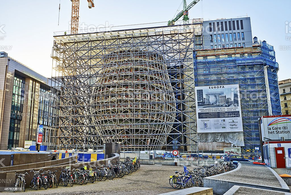 The New Europa building construction stock photo