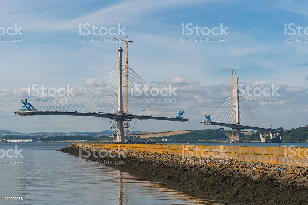 The new Forth crossing over the Firth of Forth stock photo