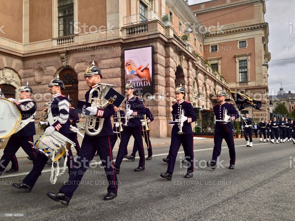 The New Guard Marching to the Royal Palace Stockholm stock photo