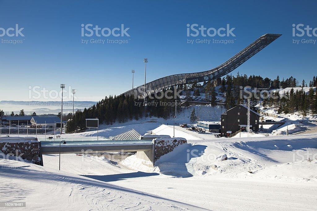 The new Holmenkollen Ski Jump in Oslo stock photo