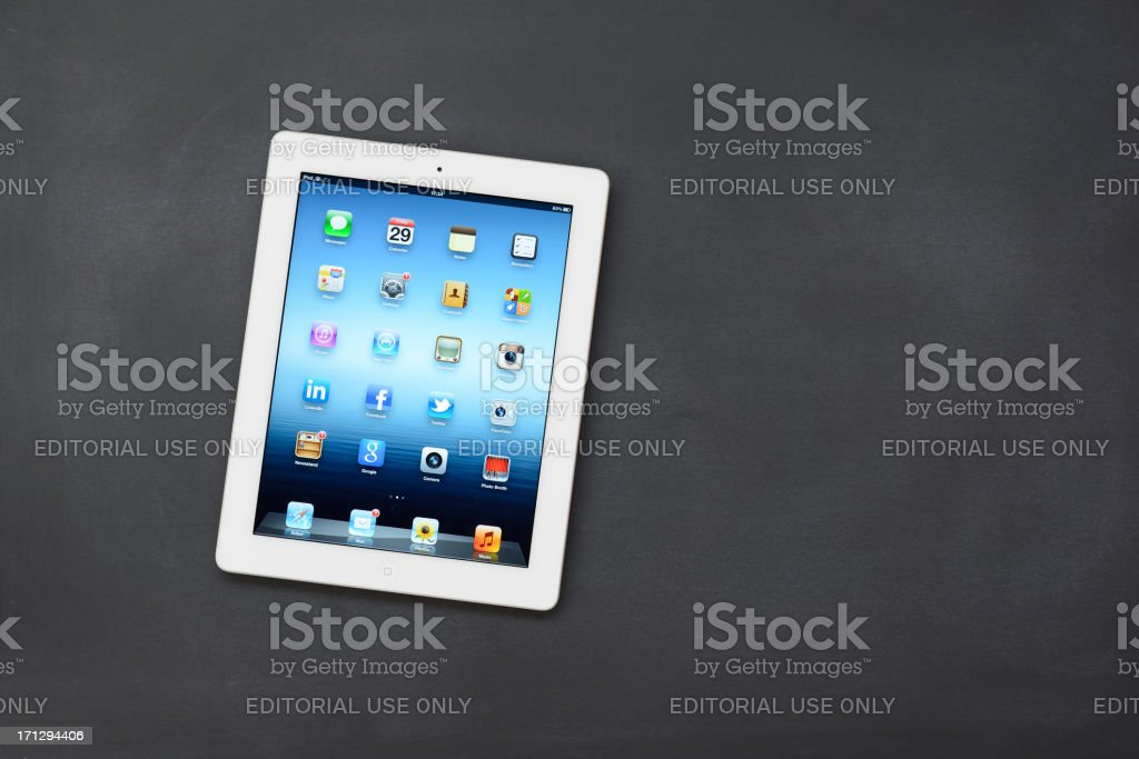 The New iPad 3 on blackboard royalty-free stock photo