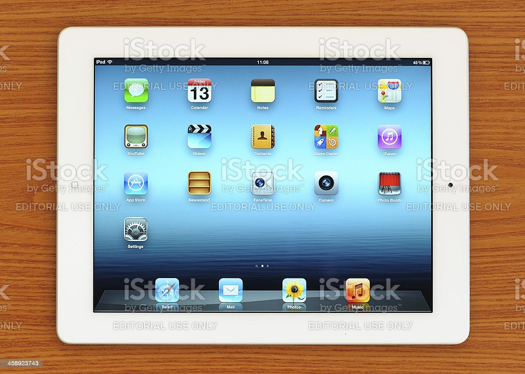 The New iPad 3 on desk royalty-free stock photo