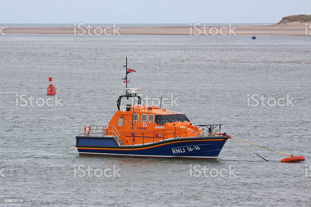 The new lifeboat moored at Appledore in Devon UK stock photo