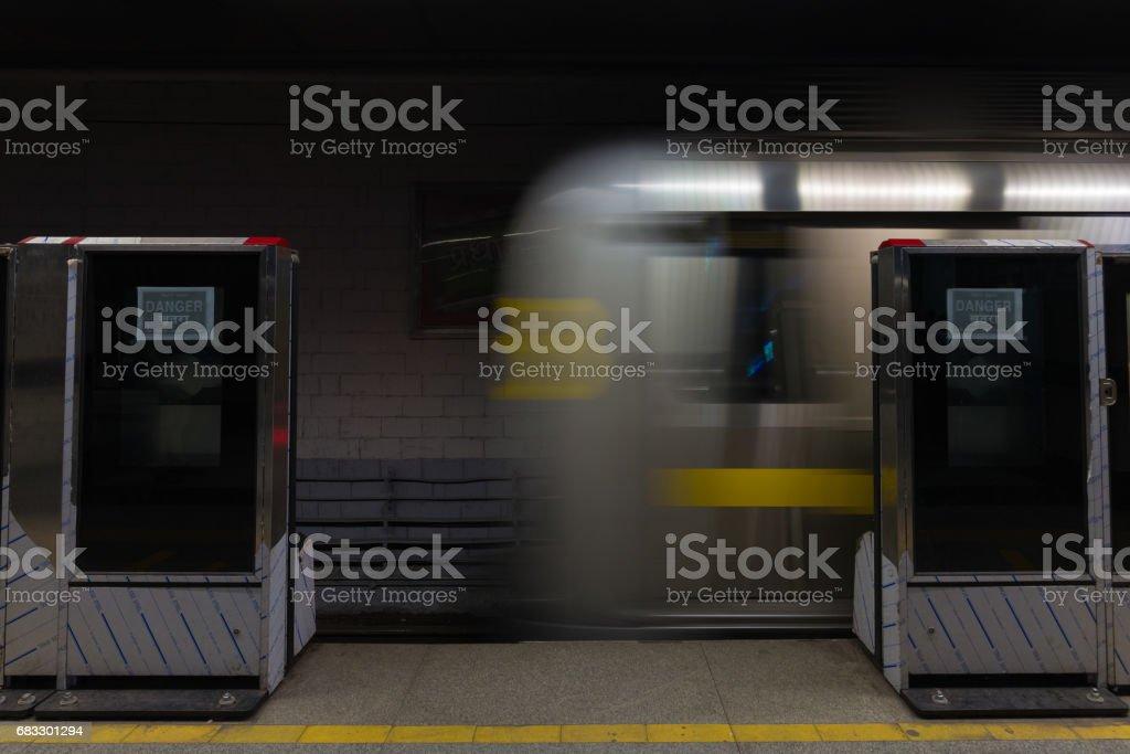 The new metro train running underground in Delhi, India. zbiór zdjęć royalty-free