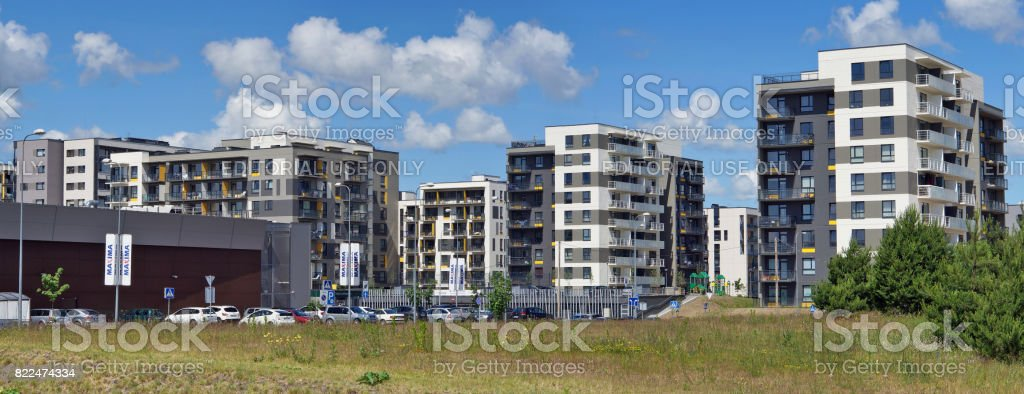 The new modern modular houses in is the ecological region of Vilnius stock photo