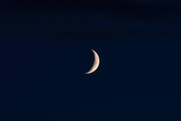 de nieuwe maan in de lucht op een zomerse avond - sleeping illustration stockfoto's en -beelden
