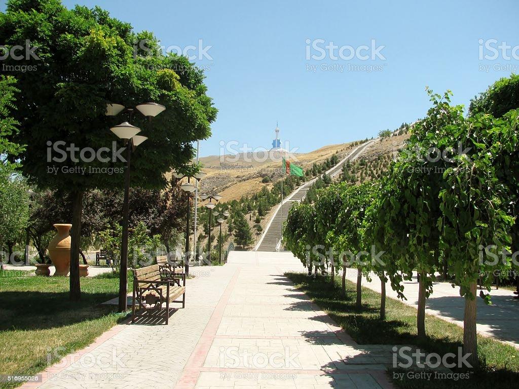 The new park in the mountains. Ashgabat. Turkmenistan. stock photo