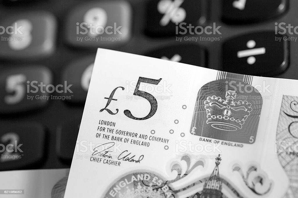 The New Polymer Five Pound Note. photo libre de droits