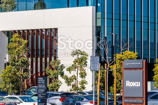 Feb 12, 2020 San Jose / CA / USA - Roku headquarters in Silicon Valley; Roku Inc manufactures a variety of digital media players that allow access to Internet streamed video or audio services