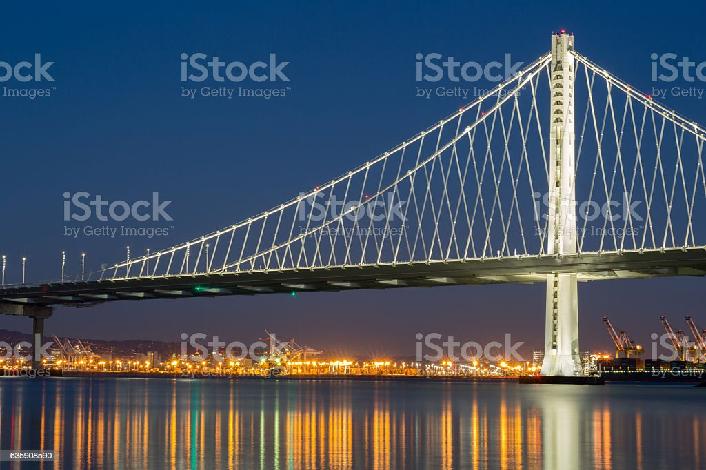 The New San Francisco's Bay Bridge East Wing at Night stock photo