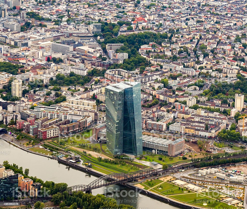 The new seat of the European Central Bank in Frankfurt stock photo