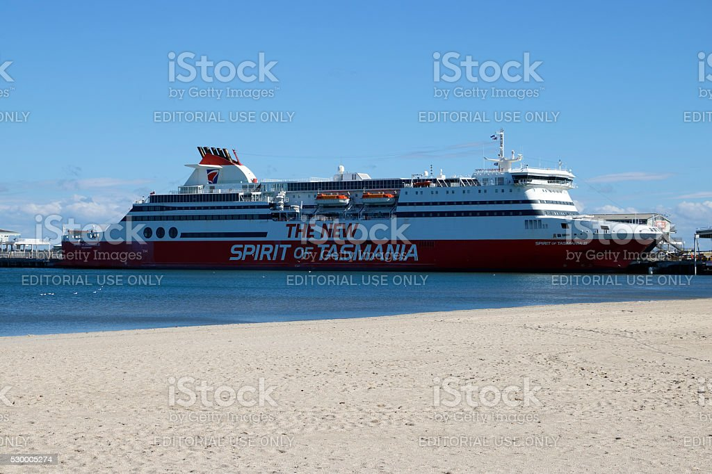 The New Spirit of Tasmania docked at Port Melbourne stock photo