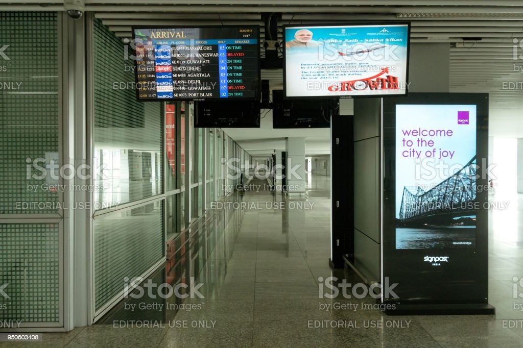 The new terminal of Arrival hall of Netaji Subhash Chandra Bose International Airport stock photo