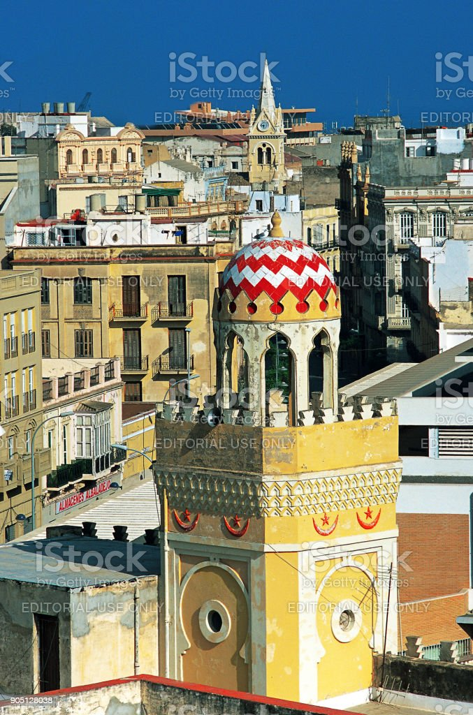 The new town and the Mosque of Melilla . stock photo
