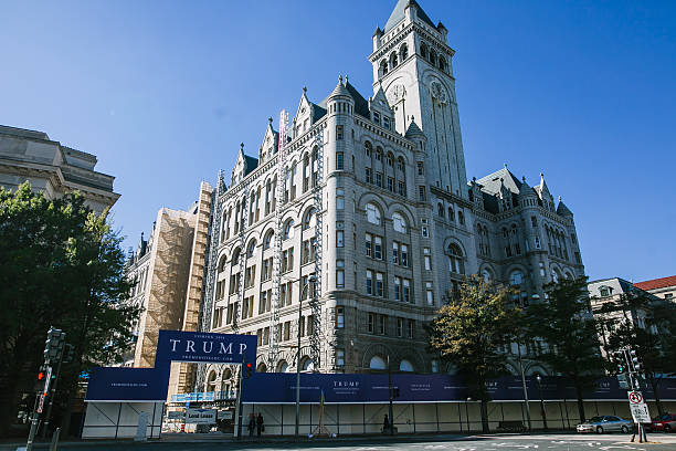 The new Trump hotel in the Old Post Office Washington, DC - October 19, 2015- The new Trump hotel in the Old Post Office on Pennsylvania Avenue is expected to open in 2016. Trump is running for nominee of the Republican party in the primaries. maryland us state stock pictures, royalty-free photos & images
