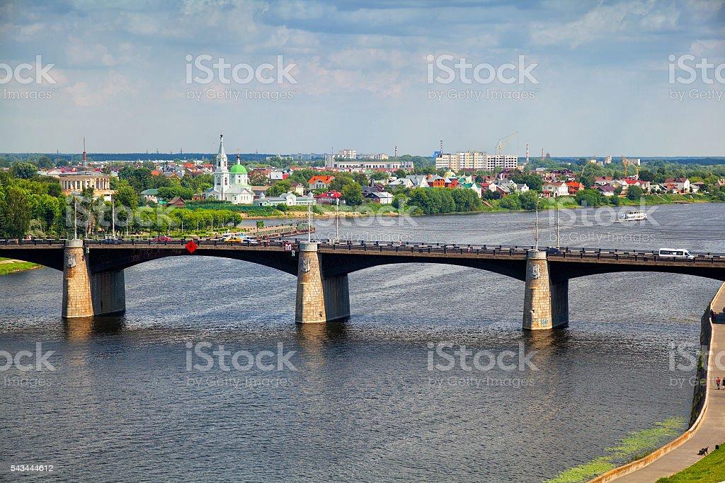 The new Volga bridge in Tver, Russia stock photo