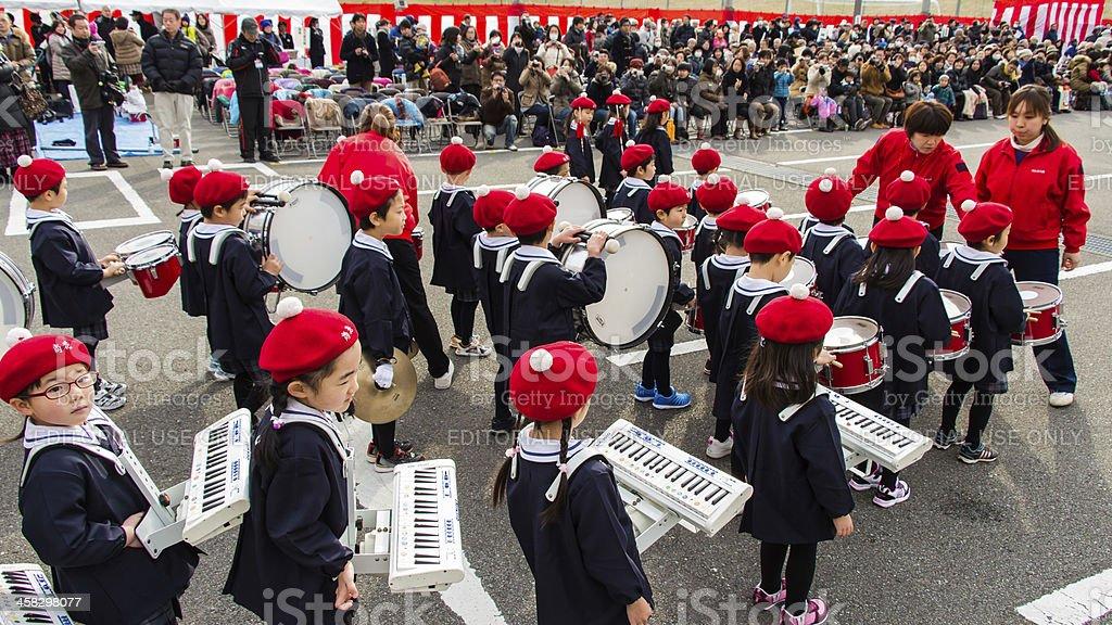 The New Year's Fire Review Kanagawa, Japan royalty-free stock photo