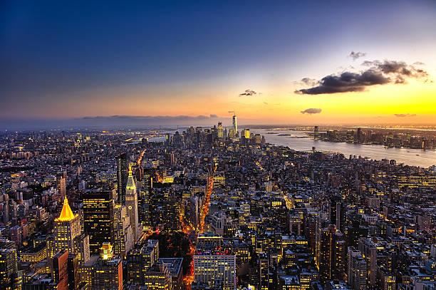 The New York City manhattan w the Freedom tower stock photo