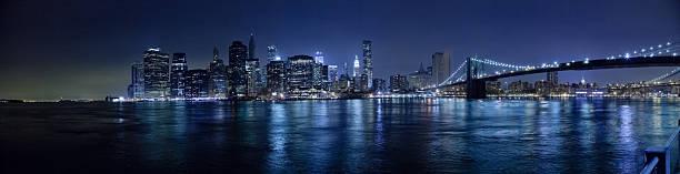 The New York City skyline w Brooklyn Bridge Hi-Res stock photo