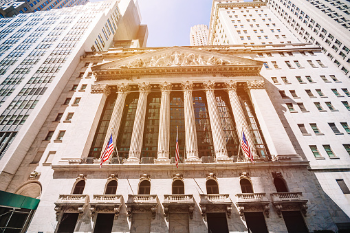 NEW YORK CITY, USA - April 04: The New York Stock Exchange at Wall Street is the largest stock exchange in the world