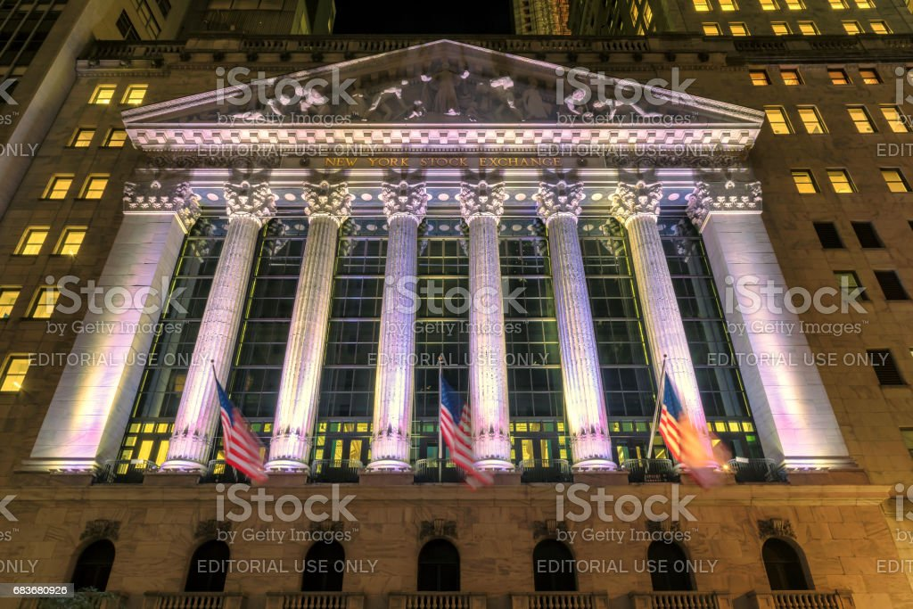 The new york stock exchange at night stock photo more pictures