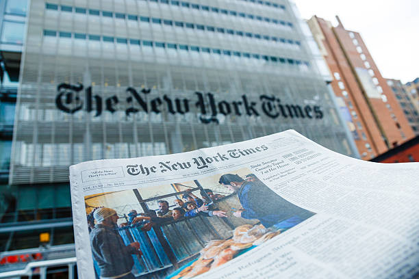 The New York Times newspaper and office building, Manhattan, NYC stock photo