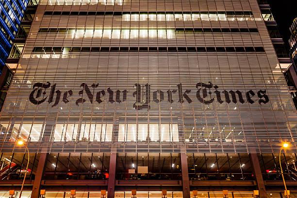 der new-york-times-bürogebäude, manhattan, nyc - new york times stock-fotos und bilder
