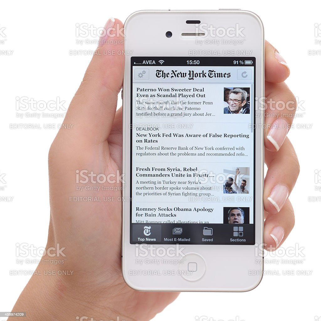 The New York Times on iPhone 4 stock photo