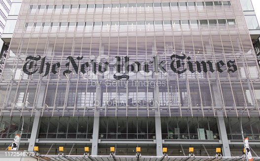 High resolution image. New York, USA - 2019 - Bottom view of headquarters of The New York Times at day, Manhattan