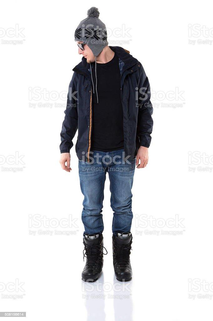 The newest man winter fashion stock photo