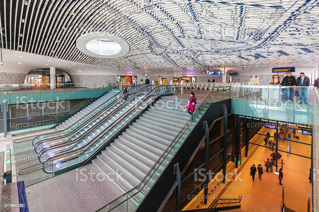 The newly built train station in Delft stock photo