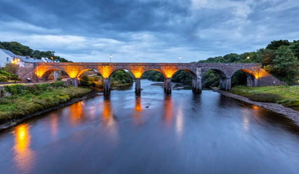 The Newport Viaduct in County Mayo close to Westport, Ireland at Night stock photo