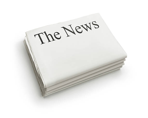 The News Stack of blank newspapers isolated on white background with copy space newspaper cutouts of bad news headlines stock pictures, royalty-free photos & images