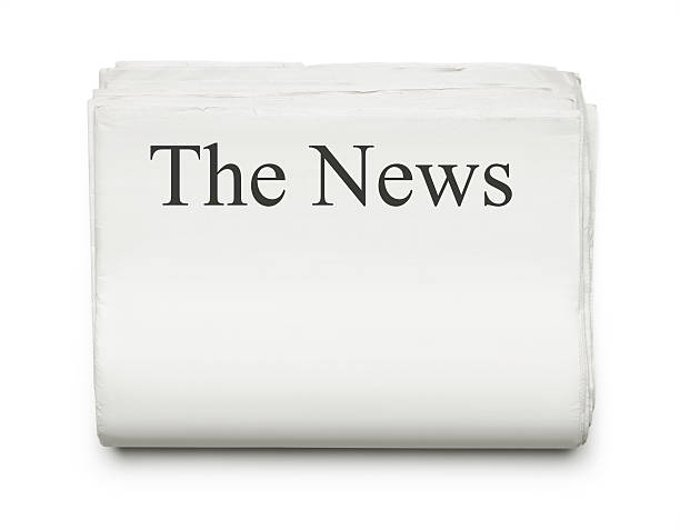 The News Stack of blank newspapers isolated on white background with copy space front page stock pictures, royalty-free photos & images