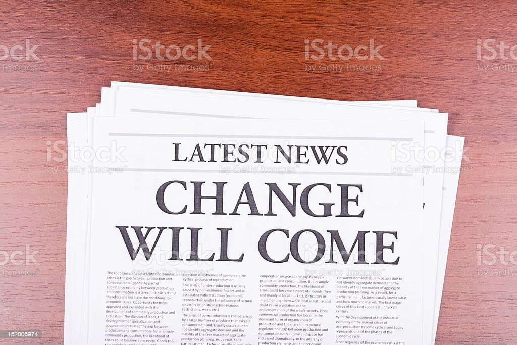 The newspaper CHANGE WILL COME royalty-free stock photo