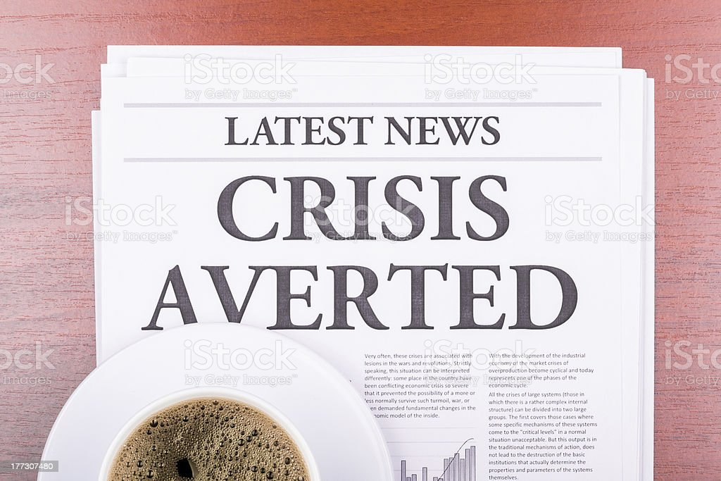 The newspaper CRISIS AVERTED stock photo