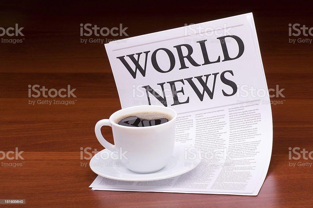 The newspaper WORLD NEWS royalty-free stock photo