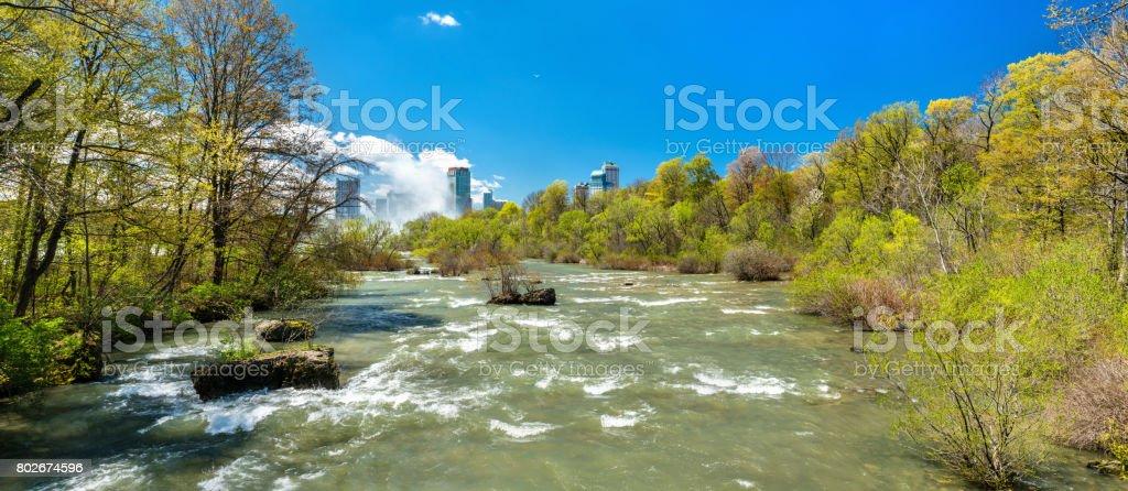 The Niagara river seen from Goat Island - New York, USA stock photo