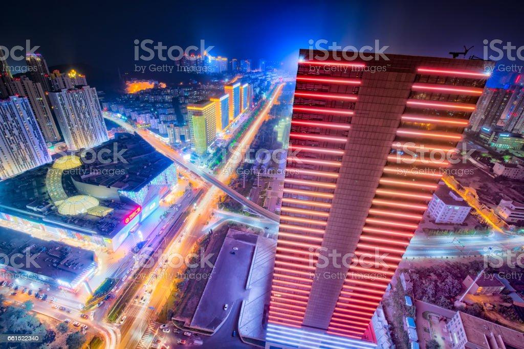 The night city view of Dalian. stock photo
