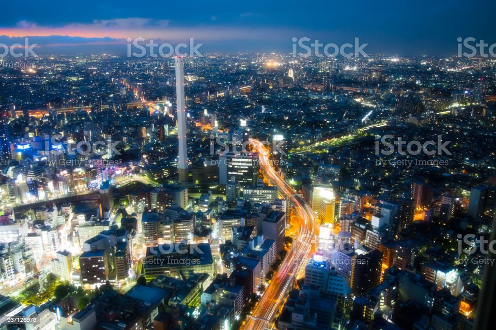 The night cityscape view stock photo