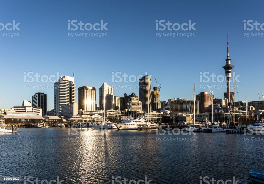 The night falls over Auckland financial district skyline in New Zealand stock photo