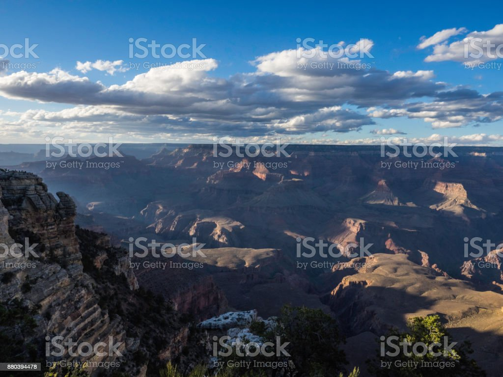 The night hovering over Grand Canyon stock photo