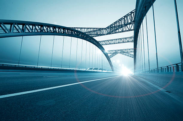 the night of modern bridge stock photo