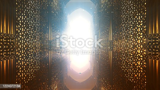 3D illustration Background for advertising and wallpaper in islamic pattern and ramadan scene. 3D rendering in festival concept.