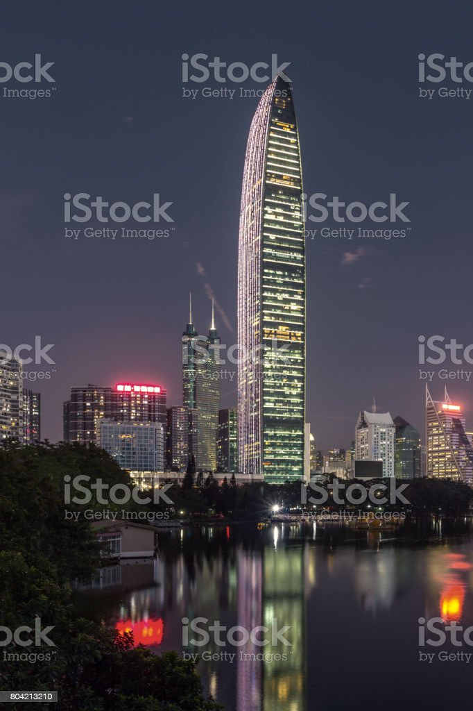 The night of Shenzhen Kingkey 100 stock photo