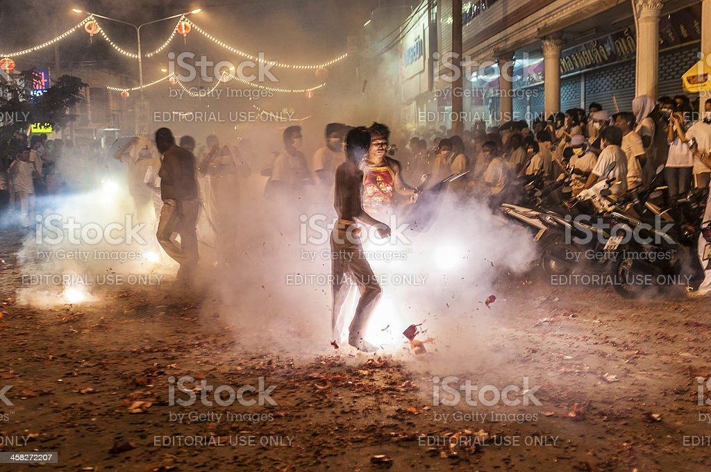 The Night Procession At Phuket Vegetarian Festival royalty-free stock photo