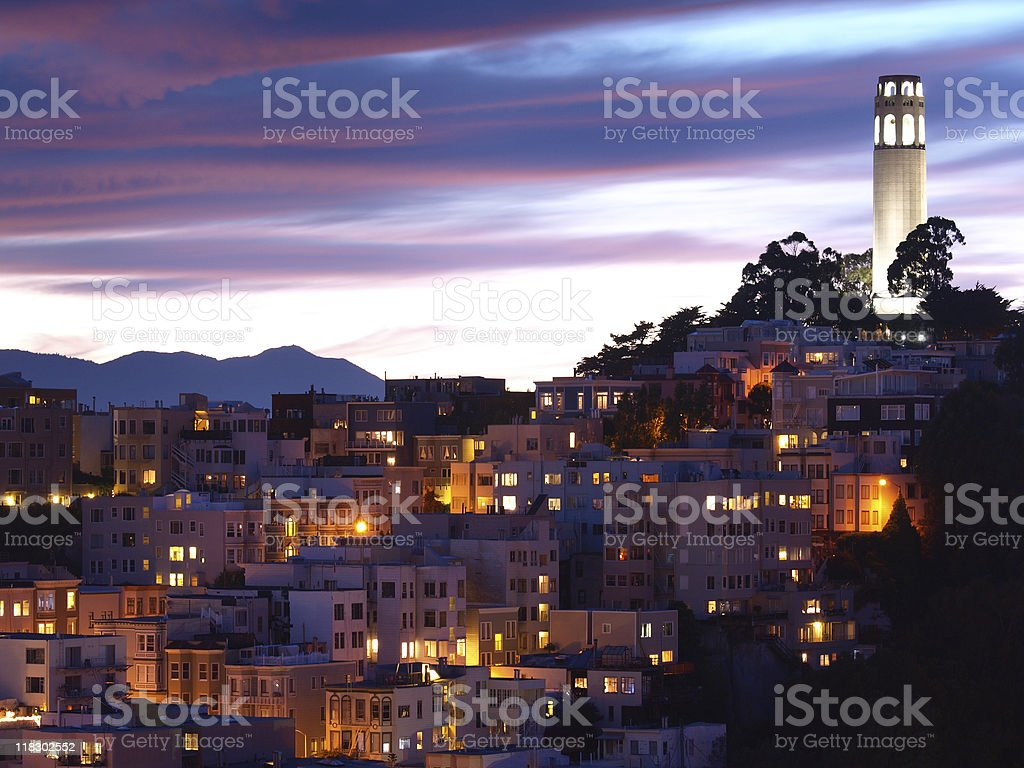 The night scene of coit tower stock photo