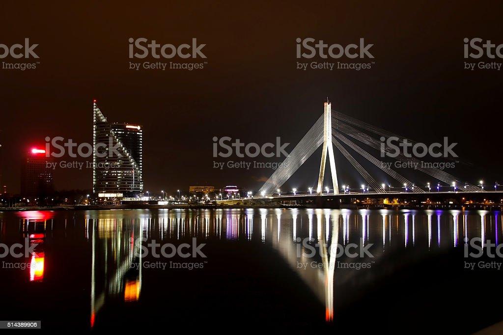 The night scene of the Vansu bridge over Daugava, Riga stock photo