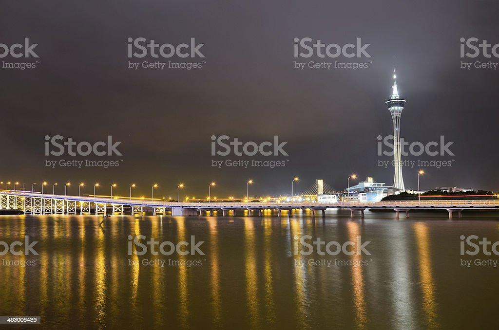 The night scenery of bridge in Macau royalty-free stock photo